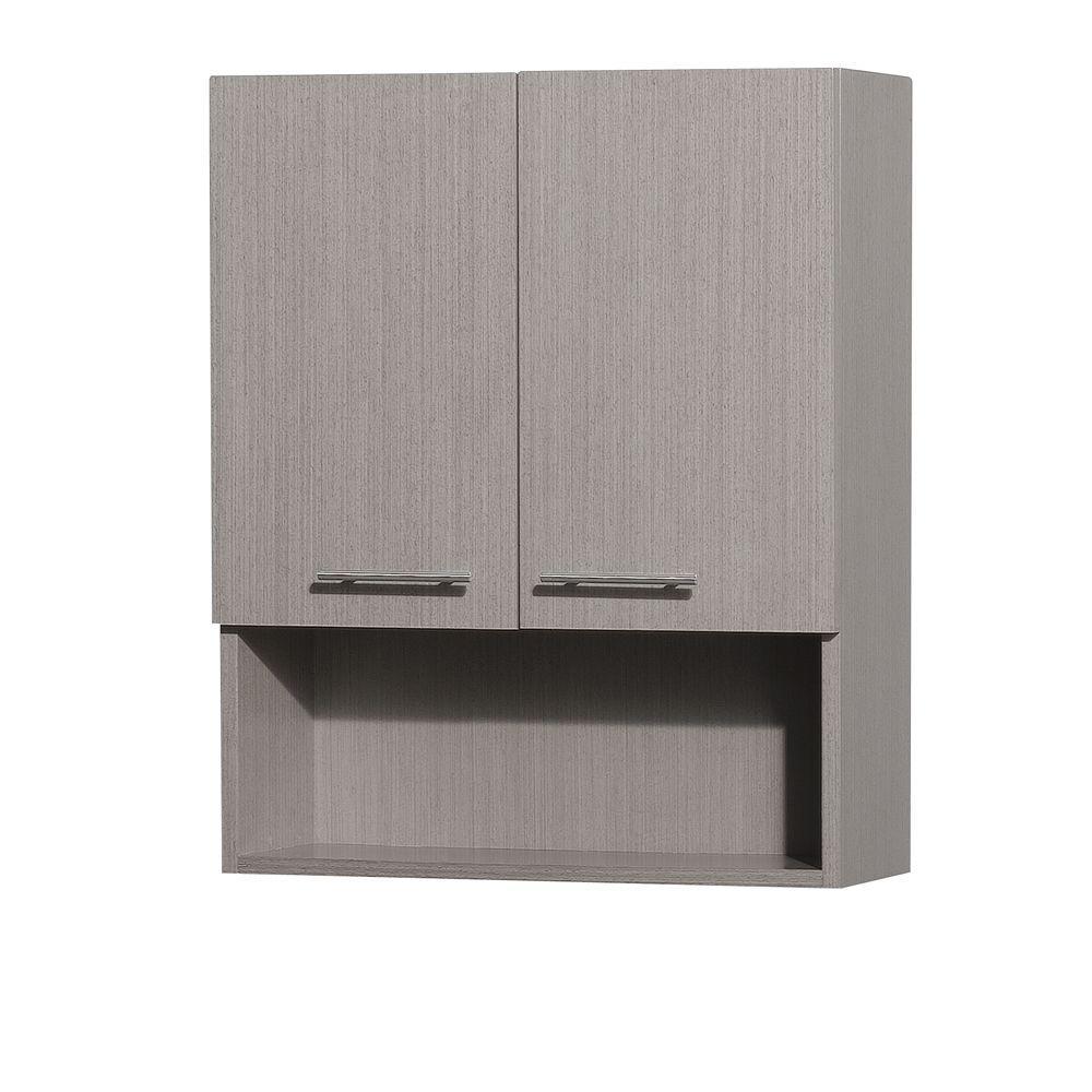 Wyndham Collection Centra 24 In W X 29 In H X 8 12 In D Bathroom Storage Wall Cabinet In Grey Oak inside dimensions 1000 X 1000