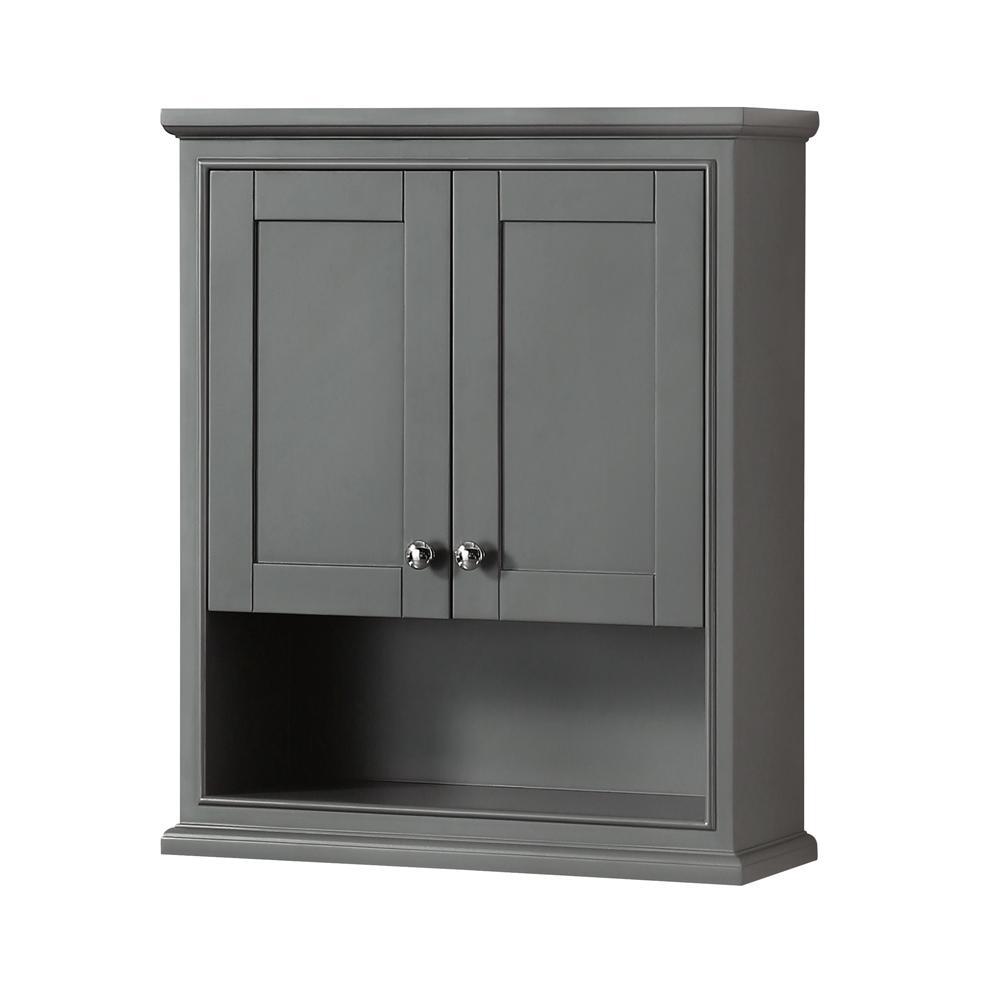 Wyndham Collection Deborah 25 In W X 30 In H X 9 In D Bathroom Storage Wall Cabinet In Dark Gray throughout proportions 1000 X 1000