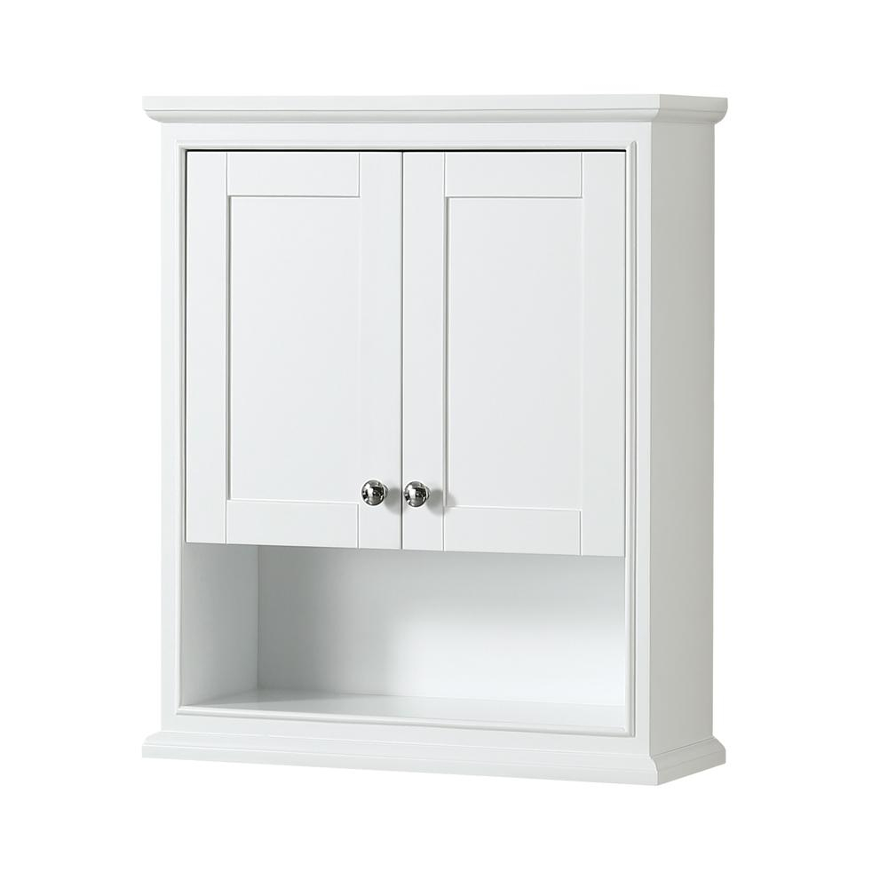 Wyndham Collection Deborah 25 In W X 30 In H X 9 In D Bathroom Storage Wall Cabinet In White pertaining to sizing 1000 X 1000