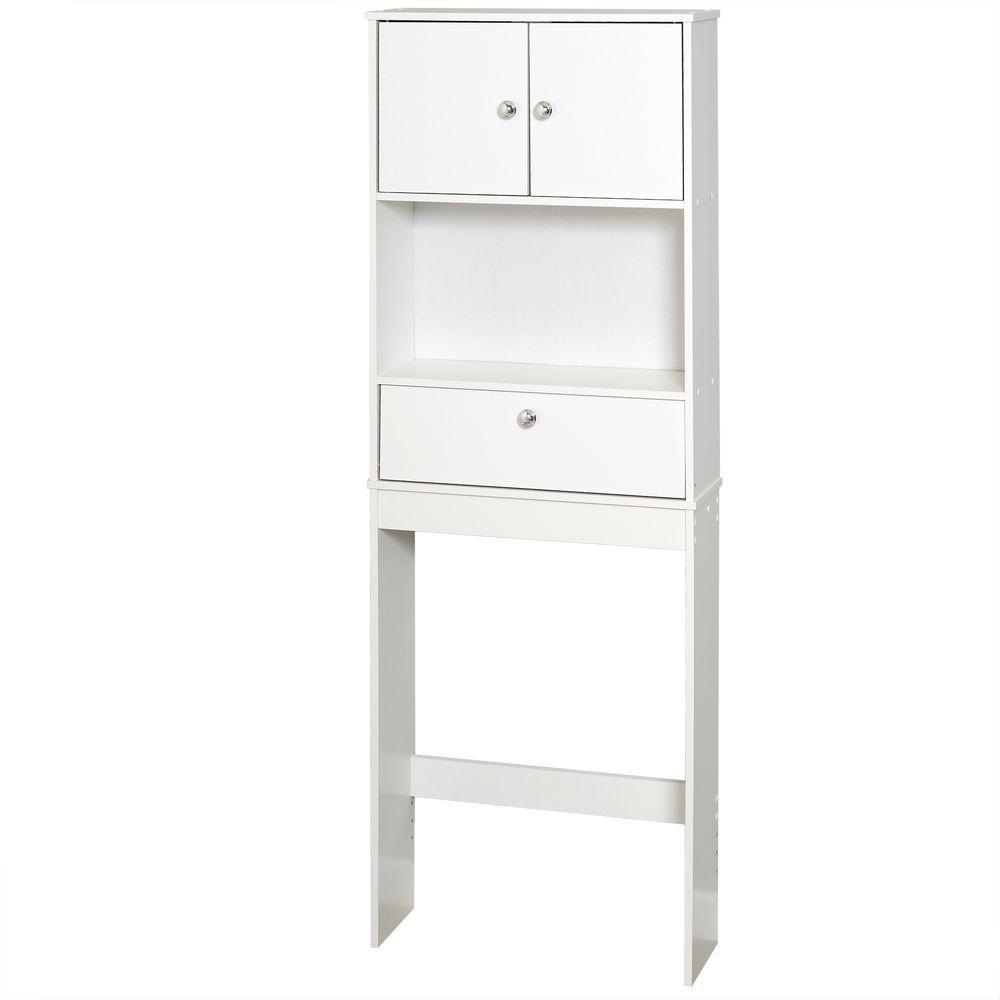 Zenna Home 23 In W X 64 12 In H X 7 1950 In D Over The Toilet Storage Cabinet In White regarding sizing 1000 X 1000