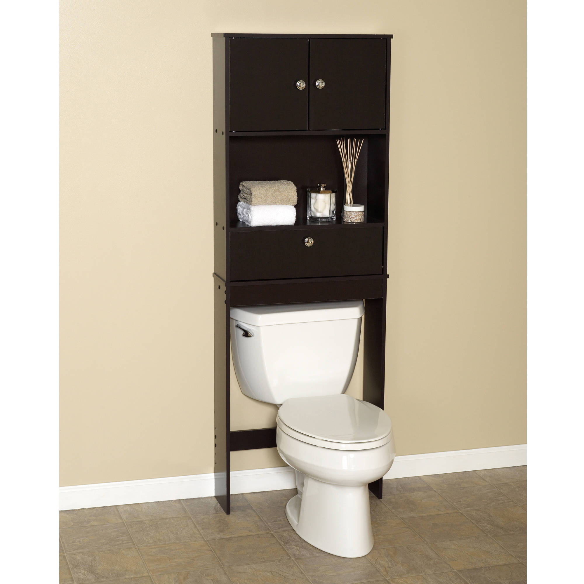 Zenna Home Drop Door Bathroom Spacesaver With 2 Door Cabinet Espresso in measurements 2000 X 2000